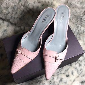 BCBG Paris Pink Leather mules/heels, size 10